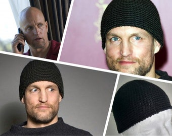 2b18ca58552 Skull Cap Cotton kufi - Black color - Woody Harrelson hat - Mens short  beanie