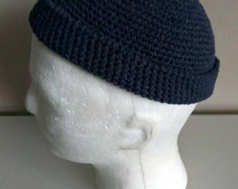 3ac94cfc58c DOCKER STYLE Beanie Cap - Navy Watch - Military Uniform Menswear - Skull Cap  Cotton kufi - Mens short beanie hat in BLUE -Universal style