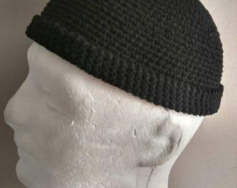 f4544e757228b8 DOCKER STYLE Beanie Cap - Leon Hat - Black Skull Cap Cotton kufi - Mens  short beanie - Unisex short beanie - Universal style Menswear