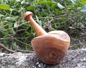 Small olive wood mortar and pestle, wooden cooking utensil, gift for host, housewarming, rustic style, 4 inch