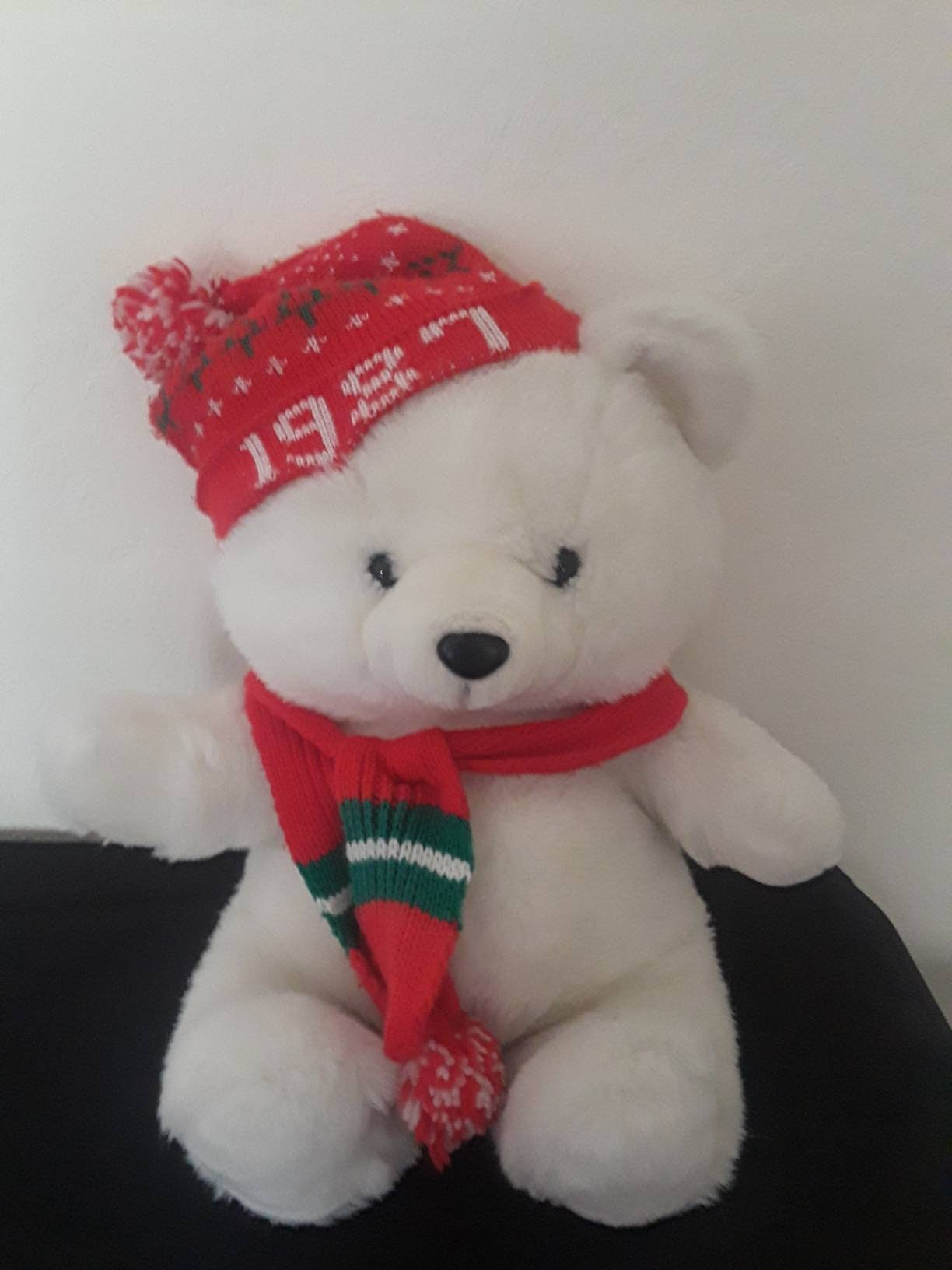 Kmart holiday bear vintage 1987 christmas collectible red hat