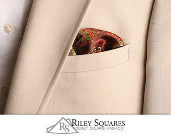Brown and Green Paisley Pocket Square, Pocket Handkerchief, Fashion Accessories