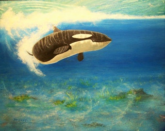 """Original 16 x 20 acrylic painting on stretched canvas """"Orca Delight"""