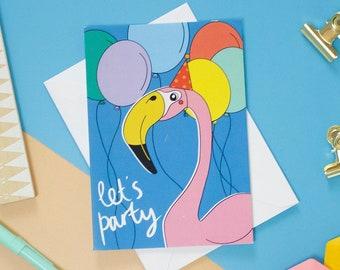 Flamingo Party Birthday Card, Children's birthday card