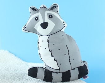 Cute Raccoon Monochrome Nursery Cushion, Animal Cushion for Kid's Bedroom