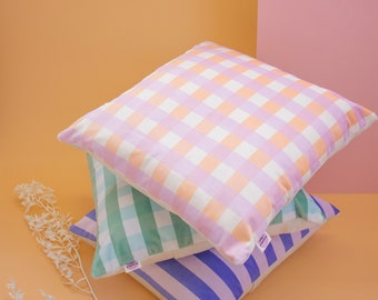 Velvet Checked Gingham Cushions, Soft Square Cushion with Zip