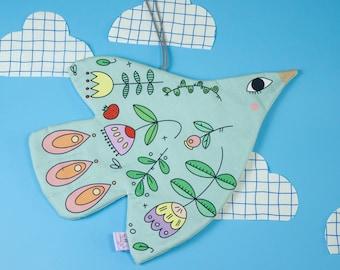 Flying Bird Nursery Textile Wall Hanging, Unusual Illustrated Nursery Wall Art