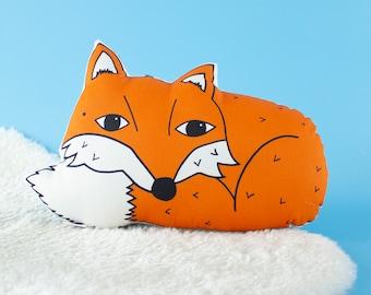 Plush Orange Fox Woodland Nursery Animal Cushion