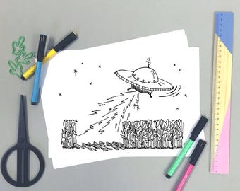 UFO Downloadable Coloring Sheet, Printable Coloring page, Activities for Kids, Colouring In Page, PDF Instant Download