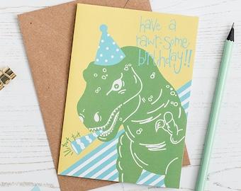 Dinosaur Birthday Card, Kid's Birthday card, Dinosaur Party, Children's Birthday Card, For nephew or niece
