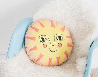 Colourful Folk Sun Nursery Cushion, Round Kid's room Cushion