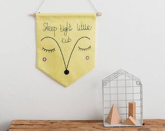 Yellow Nursery Little Cub Wall Hanging, Fabric Flag, New Baby Gift