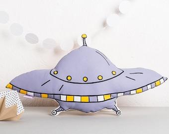Purple Plush UFO Flying Saucer Pillow for Kid's Bedroom