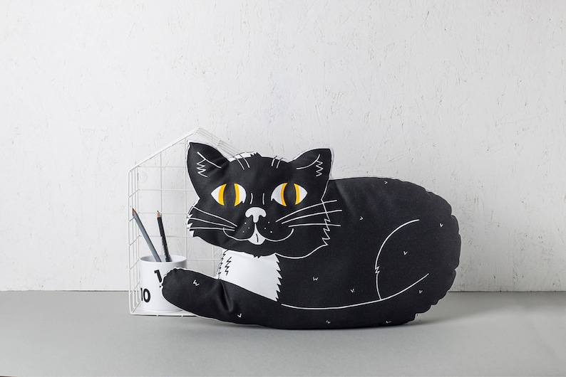 Black Cat Pillow Large throw Cushion Nursery Pillow New image 0