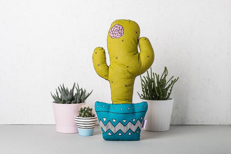 Cactus Cushion Decorative Cactus Pillow Screen Printed image 0