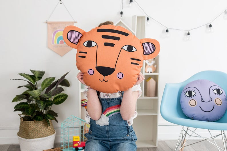Jungle Bedroom Children's Tiger Animal Cushion image 0