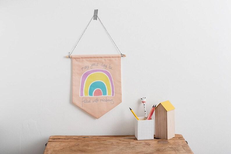 Rainbow Wall decor Wall hanging Nursery art Pennant Flag image 0
