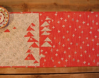 """Quilted table runner in soft orange, cream and black in improv flying geese pattern 16 1/2"""" x 34 1/2"""""""