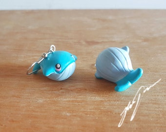 Blue Whale Earrings (also avaliable as clip-ons) cute dangly jewelry