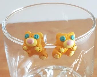 Teddybear Earrings, cute sculpy jewelry