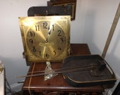 Antique Vintage Colonial MFG Co GERMAN Grandfather Westminster Rod Chime Clock Works Face Original Professionally Serviced