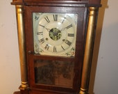 Antique 1800s Seth Thomas Weight Driven Mahogany Veneer 25 quot t x 15 1 2 quot w x 4 quot d Large Mantle Clock Professionally Serviced Running Great