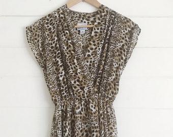 Leopard Print Midi-dress - Size: M