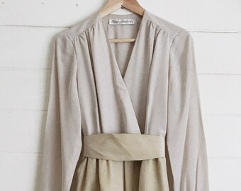 Cream and Taupe Vintage Dress by Stanley Sherman / Size: M
