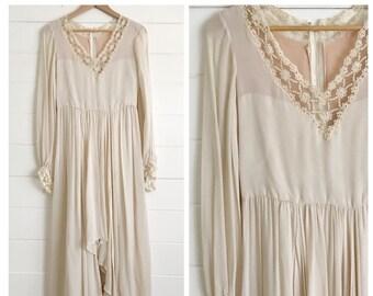 RICHILENE Saks Fifth Avenue Vintage 1970s Wedding Dress  - Size S