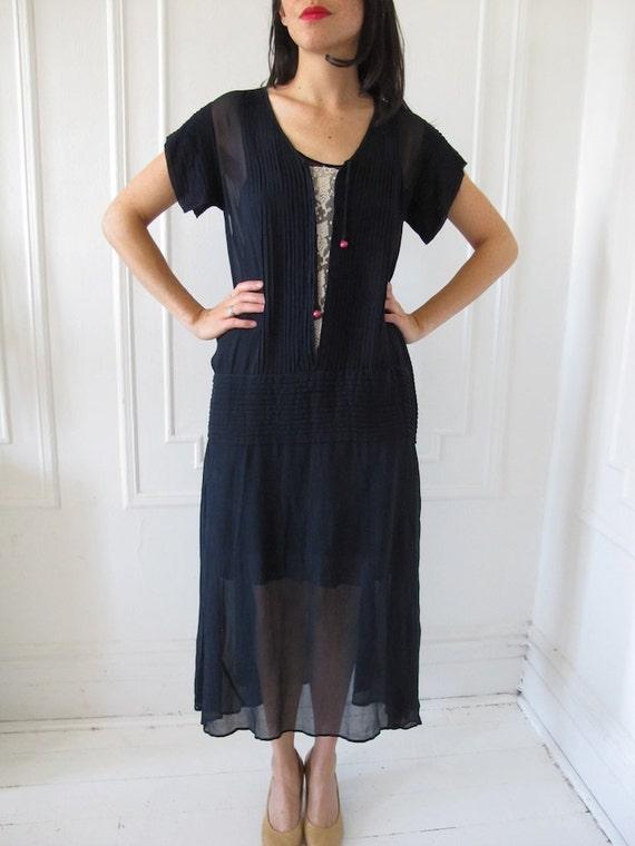 Silk Chiffon 1920's Drop-waist Navy Dress with Sl… - image 2