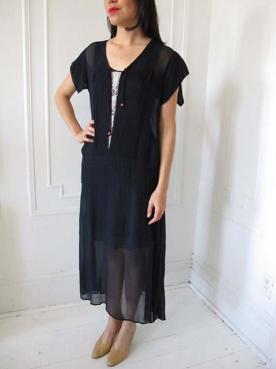 Silk Chiffon 1920's Drop-waist Navy Dress with Sli