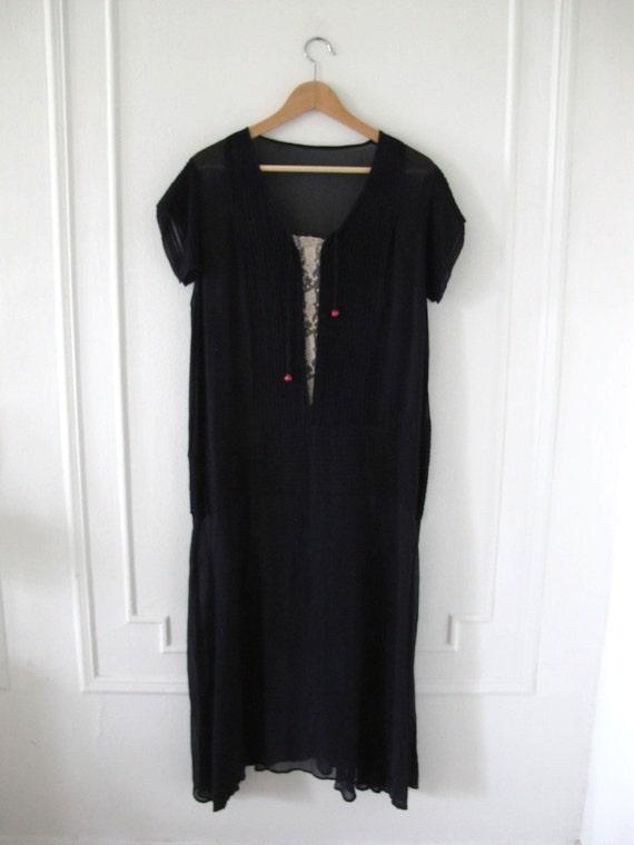 Silk Chiffon 1920's Drop-waist Navy Dress with Sl… - image 3