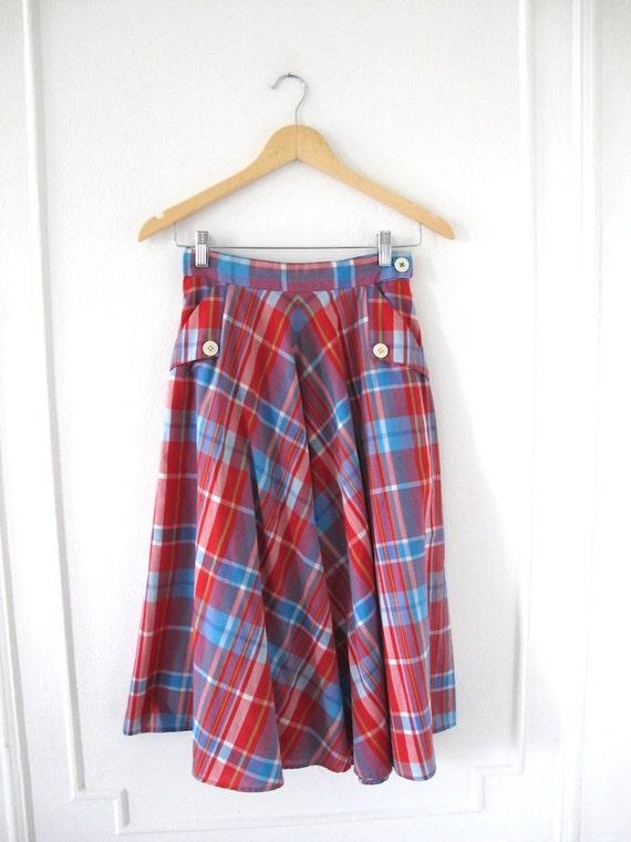 Red & Blue Plaid A-line 1970s Skirt w/ Pockets - S