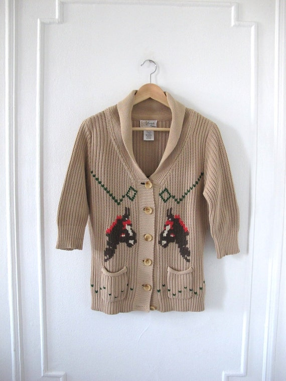 Cotton Shawl Collar Cowgirl Cardigan - Size S/M