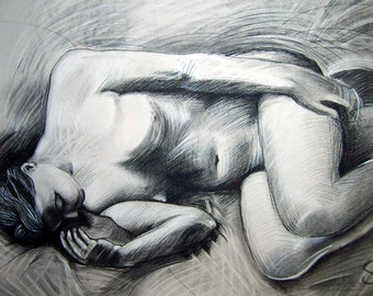 Life Drawing, Charcoal, 42x30in, Item#LD001