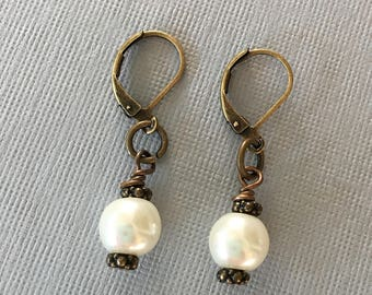 Antique Bronze Pearl Wedding Bridesmaids Earrings