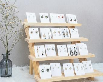Solid wood pinewood desktop Jewelry display shelf, bracelet, earrings, doll, trapezoidal display stand, organizer. DIY kits (Self-assembly)