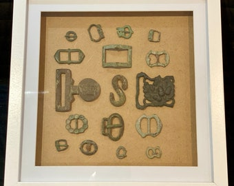 Historical finds display - real items in a box frame - various options