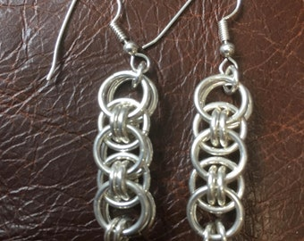 Sterling silver 'Chainmail' earrings - 50mm