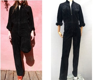 f236c4c637c 1980s Black suede jumpsuit    RACING suede Leather long sleeve zip up  coveralls    size eu 38-uk10-us6