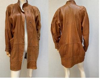 True Vintage Leather Coat Swinger Leather Coat 80s Leather