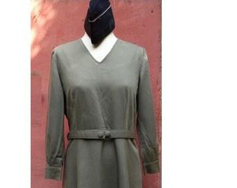 Vintage Army green Kaki gabardine belted DRESS // size eu 40 - uk 12 - us 8