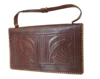 VTG tooled leather moroccan BAG //Handcrafted Rustic Tooled Leather Handbag Satchel Clutch// Top Handle Bag