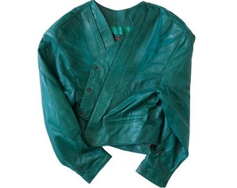 1980s leather and suede CROP Jacket // Pelessimo PARIS green leather cropped jacket  // 1980s //size large
