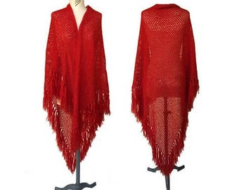 1970s XLARGE Crochet RED Wool mixed SHAWL // 70s fringed hippie large wool mixed shawl