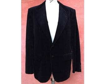 962efca6a2ae2 BALMAIN 80s black velvet MEN BLAZER    size 56 M
