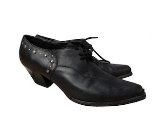 48f2d13abe années 1980 français orteils métal pointus lacés chaussures OXFORD / /  clouté pointu lacé des années 80 Oxford / / taille UE 5 38-uk - nous 8,5