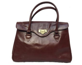fd4e82390e 1980s italian brown Leather Top Handle Bag