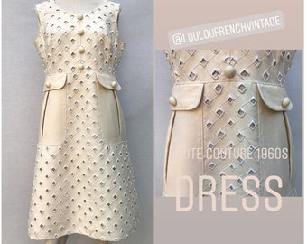 5f8aa31dea8 1960s 70s GIL COUTIN Haute Couture Beige wool DRESS // size eu 40 - uk 12-  us 8
