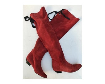 0861c477905 1980s Italian red suede HIGH KNEE Laced thigh high Boots   size eu 36-uk  3.5- us 5
